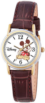 Disney Mickey Mouse Womens Brown Strap Watch-W000551