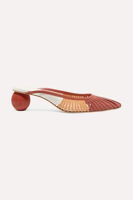 Cult Gaia Alia Color-block Leather Mules - Papaya