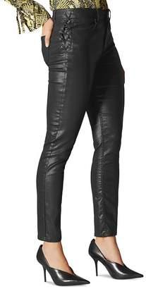 Karen Millen Coated Lace-Up Skinny Jeans in Black