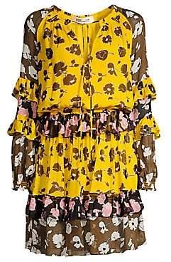 Diane von Furstenberg Women's Haven Tiered Floral Silk Blouson Dress
