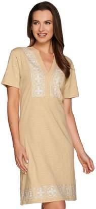 C. Wonder Short Sleeve Split V-neck Knit Dress with Embroidery