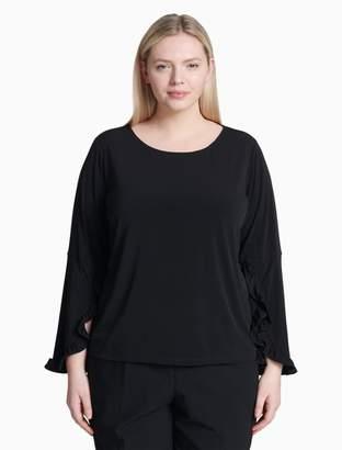 Calvin Klein plus size long ruffle sleeve top