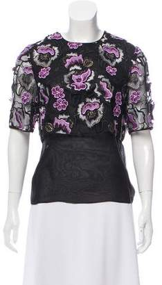 Wes Gordon Silk Embroidered-Overlay Top