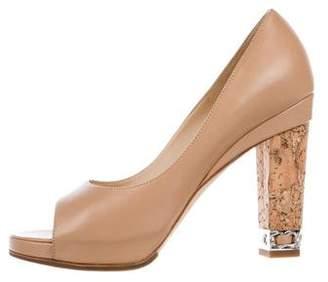 Chanel Leather Peep-Toe Pumps