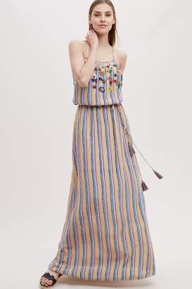 Anthropologie Alle Embroidered-Striped Maxi Dress