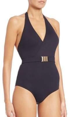 Melissa Odabash One-Piece Belted Halter Swimsuit