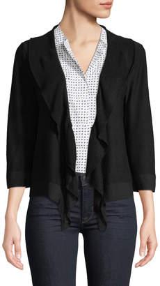 Donna Karan 3/4-Sleeve Ruffled-Front Cardigan
