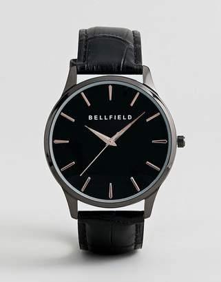 Bellfield Mock Croc Strap Watch in Black