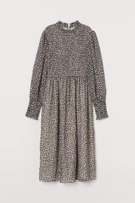H&M Smocked Chiffon Dress - Beige