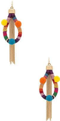 Ettika Dahl Multi Pom Pom Earrings in Red. $40 thestylecure.com