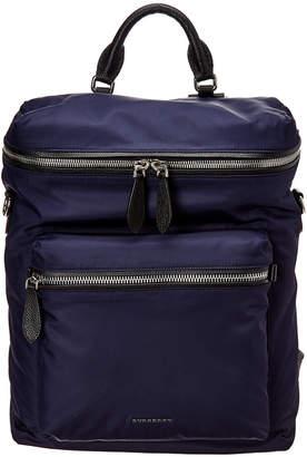 Burberry Zip-Top Leather Trim Waterproof Backpack