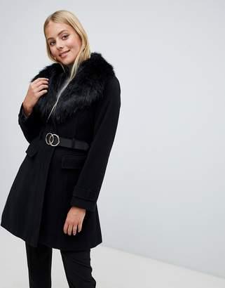 Miss Selfridge belted coat with faux fur trim in black