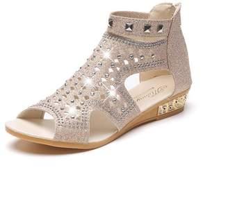 322063990029d4 ASTV Women s Summer Fashion Cut Out Floral Sequin Bead Gladiator Flat Sandal  ...