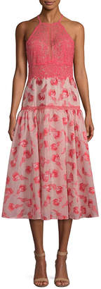 Rebecca Taylor Lace-Accented A-Line Dress