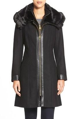 Women's Via Spiga Faux Fur Collar Zip Front Coat $318 thestylecure.com