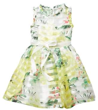 AVA AND YELLY Ruffle Collar Party Dress (Little Girls)
