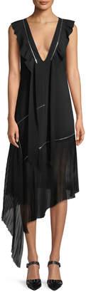 Tre By Natalie Ratabesi V-Neck Sleeveless Zipper Silk Crepe Asymmetric Midi Dress