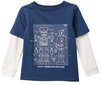 Andy & Evan Blue Robot Blueprint Graphic Tee (Toddler & Little Boys)