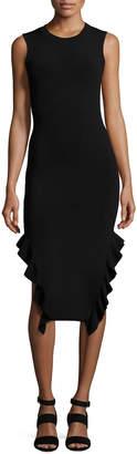 Opening Ceremony Sleeveless Stretch Crepe Ruffle-Trim Midi Dress, Black