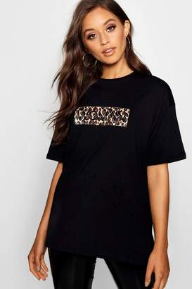 boohoo Faux Fur Leopard Oversized Woman T-Shirt