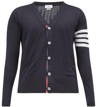 Thom Browne 4 Bar V Neck Merino Wool Cardigan - Mens - Navy