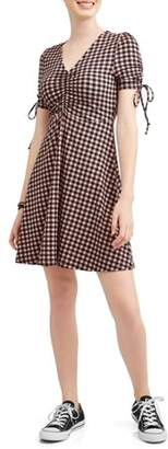 Derek Heart Juniors' Skater Dress with Front Gathering and Ties