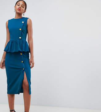Asos Tall DESIGN Tall pencil dress with peplum and button detail
