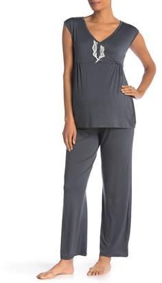 042230cce7288 Lamaze Intimates Maternity\u002FNursing Cap Sleeve 2-Piece Pajama Set ( Maternity)