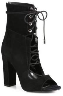 Ella Suede Lace-Up Block-Heel Booties $199 thestylecure.com