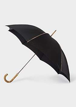 Paul Smith Black Signature Stripe Trim Walker Umbrella With Wooden Handle