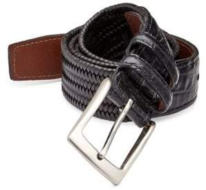 Saks Fifth Avenue COLLECTION Exotic Tab Woven Leather Belt