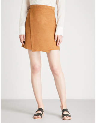Theory Wrap-front suede skirt