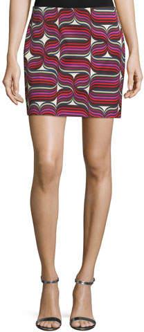 Trina Turk Ribbon-Print Mini Faille Skirt