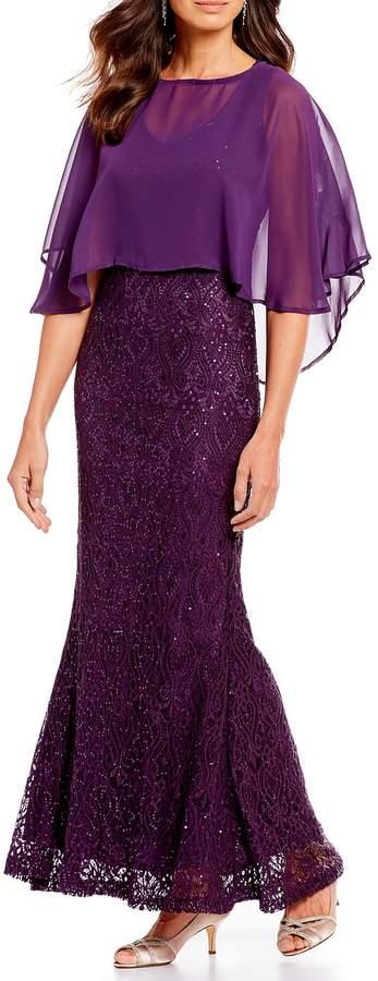 Marina Chiffon Capelet Lace Long Gown