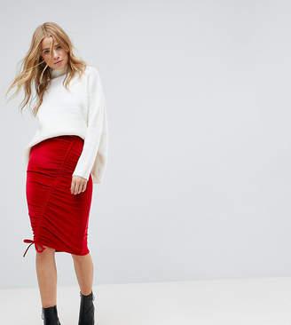 Miss Selfridge Ruched Velvet Midi Skirt