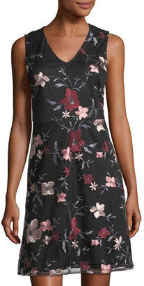 Label By 5twelve V-Neck Floral Embroidery Fit-and-Flare Dress