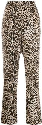 Cambio side stripe leopard print trousers