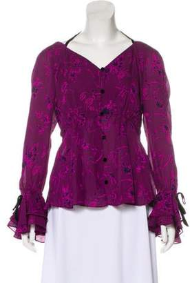 Cinq à Sept Silk Peplum Blouse w/ Tags Purple Silk Peplum Blouse w/ Tags