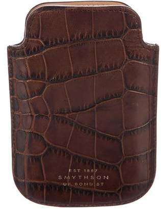 Smythson Embossed Leather Phone Case