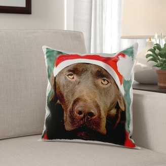 The Holiday Aisle Metcalf Labrador Dog Dressed as Santa Claus Face Close-up Pillow Cover The Holiday Aisle