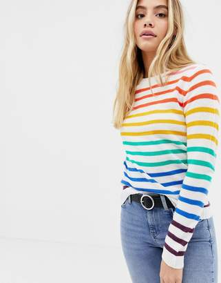 Brave Soul smartie sweater in rainbow stripe