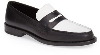 Saint Laurent 'Classique' Contrast Calfskin Leather Loafer (Women)