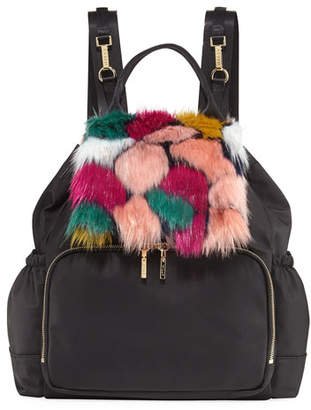Milly Minis Faux-Fur Diaper Bag Backpack