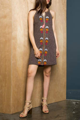 THML Clothing Sleeveless Embroidered Dress