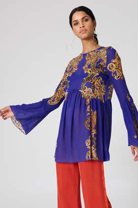 Free People Printed Symphony Slip Dress Blue