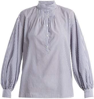 Nili Lotan Claira balloon-sleeved striped cotton blouse