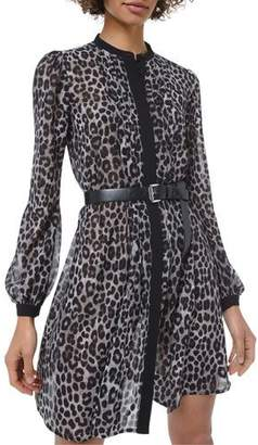 MICHAEL Michael Kors Cheetah-Print Long-Sleeve Shirtdress