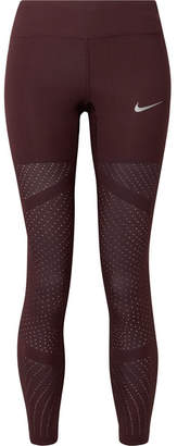Nike Epic Lux Athena Mesh-paneled Stretch Leggings - Burgundy