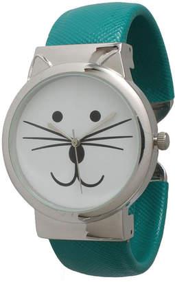 OLIVIA PRATT Olivia Pratt Womens Tomcat Dial Teal Leather Cuff Watch 13895