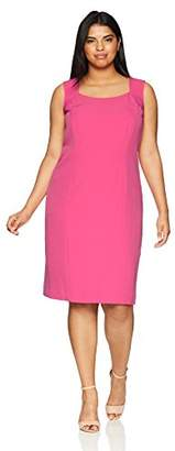 Kasper Women's Size Plus Solid Stretch Crepe Sqaure Dress